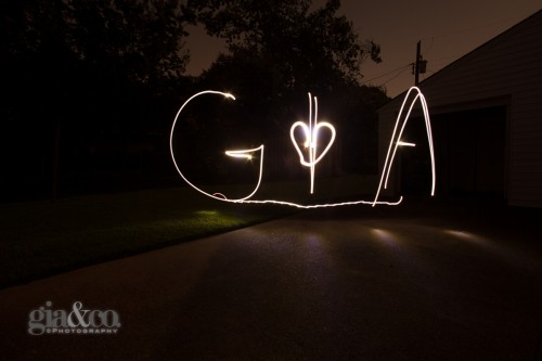 Large lettering with only the white LED flashlight. I wrote the letters in approximately 4 foot in height and 15 feet away from the camera. I then came closer at 6 feet to the camera and drew the heart.