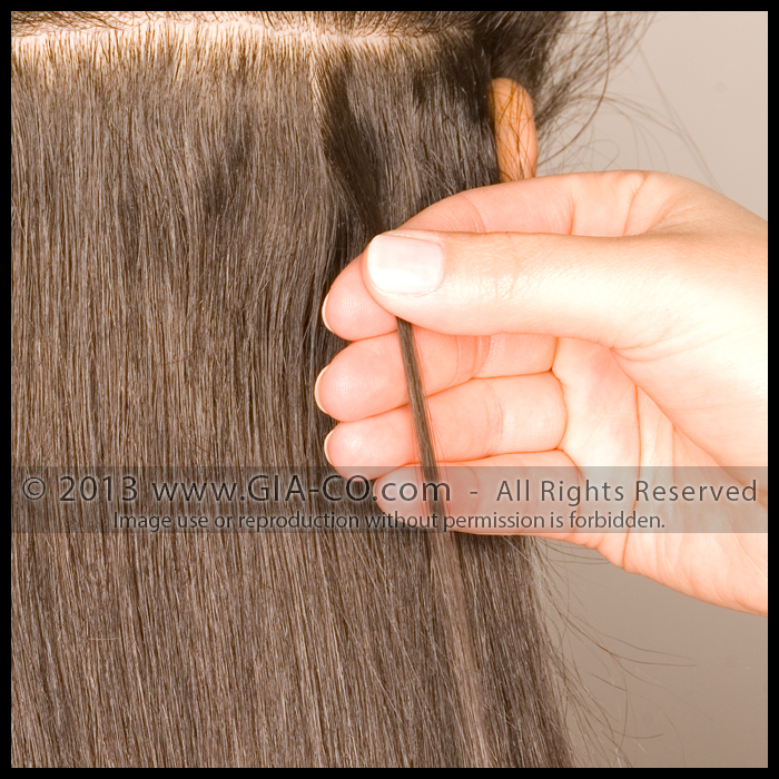 Bonded Strand Hair Extension Strand Application STEP ONE:  On cleanly parted hair a small piece of the client's natural hair is sectioned out where the extension strand will be applied.
