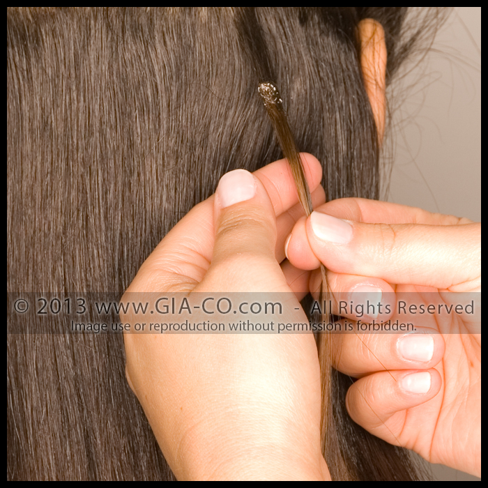 Bonded Strand Hair Extension Strand Application STEP FOUR: The applicator tool will soften the bonding material and the stylist will be able to then secure the extension to the client's own hair.