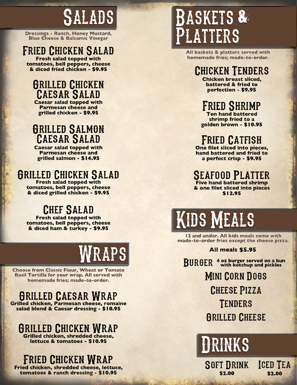 BSR Bar and Grill Menu 2
